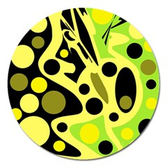 Green abstract art Magnet 5  (Round)