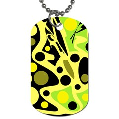 Green abstract art Dog Tag (One Side)