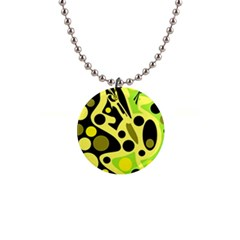 Green abstract art Button Necklaces