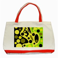 Green abstract art Classic Tote Bag (Red)