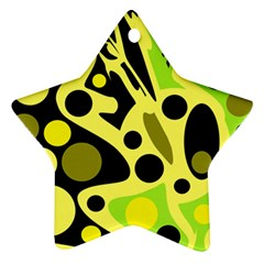 Green abstract art Star Ornament (Two Sides)