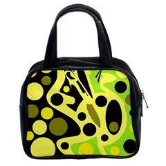 Green abstract art Classic Handbags (2 Sides)