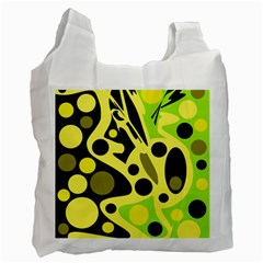 Green abstract art Recycle Bag (One Side)