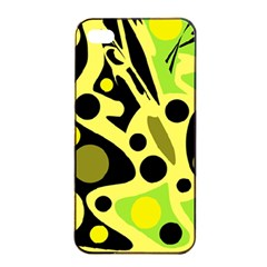 Green abstract art Apple iPhone 4/4s Seamless Case (Black)