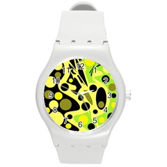Green abstract art Round Plastic Sport Watch (M)