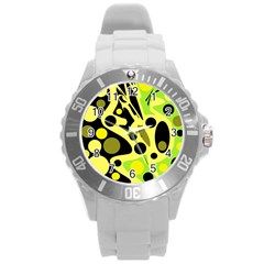 Green abstract art Round Plastic Sport Watch (L)