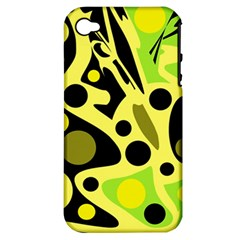 Green abstract art Apple iPhone 4/4S Hardshell Case (PC+Silicone)