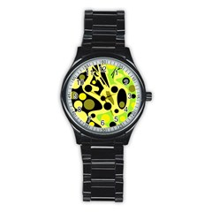 Green abstract art Stainless Steel Round Watch