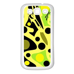 Green abstract art Samsung Galaxy S3 Back Case (White)