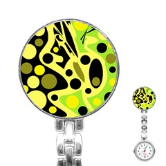 Green abstract art Stainless Steel Nurses Watch