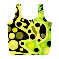 Green abstract art Full Print Recycle Bags (L)