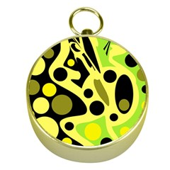 Green abstract art Gold Compasses