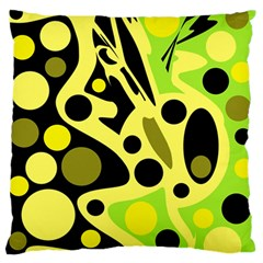 Green abstract art Large Flano Cushion Case (Two Sides)