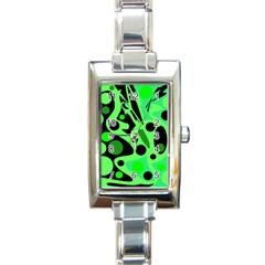 Green abstract decor Rectangle Italian Charm Watch