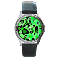 Green abstract decor Round Metal Watch