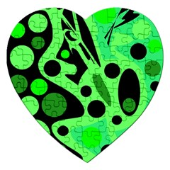 Green abstract decor Jigsaw Puzzle (Heart)