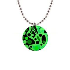Green abstract decor Button Necklaces