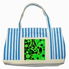 Green abstract decor Striped Blue Tote Bag