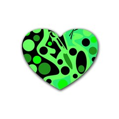 Green abstract decor Rubber Coaster (Heart)