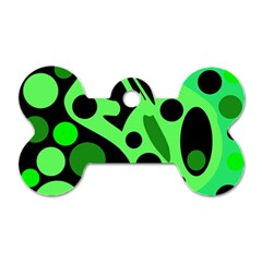 Green abstract decor Dog Tag Bone (One Side)