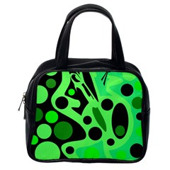 Green abstract decor Classic Handbags (One Side)