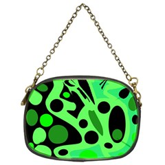 Green abstract decor Chain Purses (One Side)