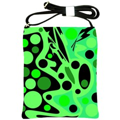 Green abstract decor Shoulder Sling Bags
