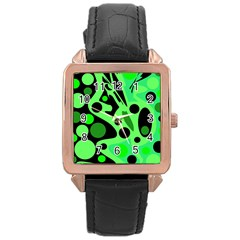 Green abstract decor Rose Gold Leather Watch