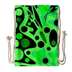Green abstract decor Drawstring Bag (Large)