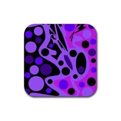 Purple abstract decor Rubber Coaster (Square)