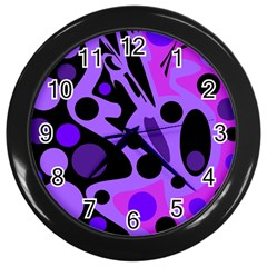 Purple abstract decor Wall Clocks (Black)