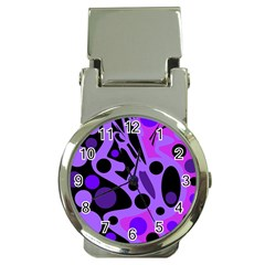Purple abstract decor Money Clip Watches