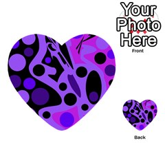 Purple abstract decor Multi-purpose Cards (Heart)