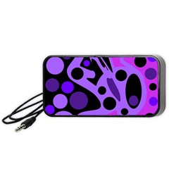 Purple abstract decor Portable Speaker (Black)