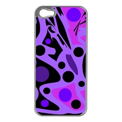 Purple abstract decor Apple iPhone 5 Case (Silver)
