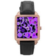 Purple abstract decor Rose Gold Leather Watch