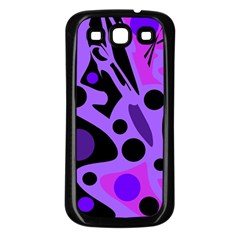 Purple abstract decor Samsung Galaxy S3 Back Case (Black)
