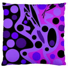 Purple abstract decor Large Flano Cushion Case (One Side)