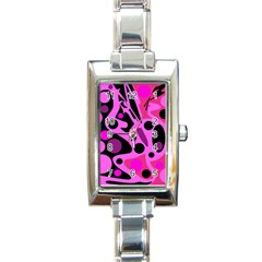 Pink abstract decor Rectangle Italian Charm Watch