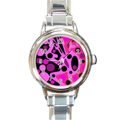 Pink abstract decor Round Italian Charm Watch