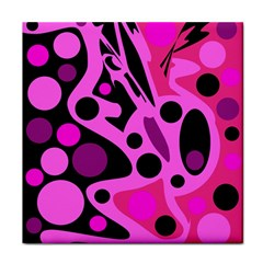 Pink abstract decor Tile Coasters