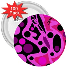 Pink abstract decor 3  Buttons (100 pack)