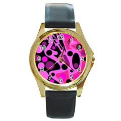 Pink abstract decor Round Gold Metal Watch