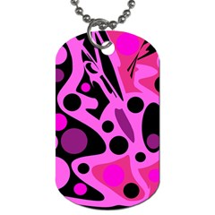 Pink abstract decor Dog Tag (Two Sides)