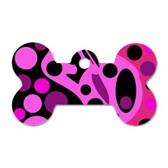 Pink abstract decor Dog Tag Bone (Two Sides)