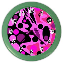 Pink abstract decor Color Wall Clocks