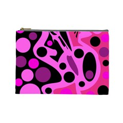 Pink abstract decor Cosmetic Bag (Large)