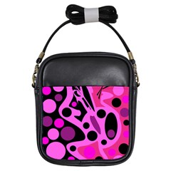 Pink abstract decor Girls Sling Bags