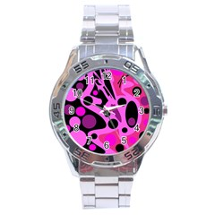 Pink abstract decor Stainless Steel Analogue Watch