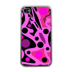 Pink abstract decor Apple iPhone 4 Case (Clear)
